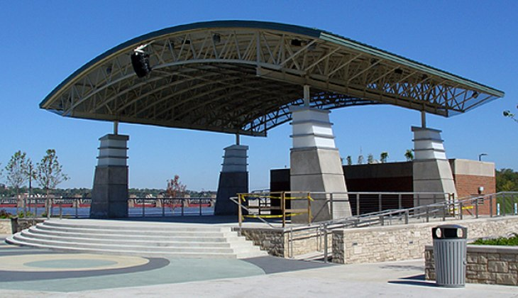 Custom architectural tubular structural fabrications for roof of Schwiebert Riverfront park pavilion.