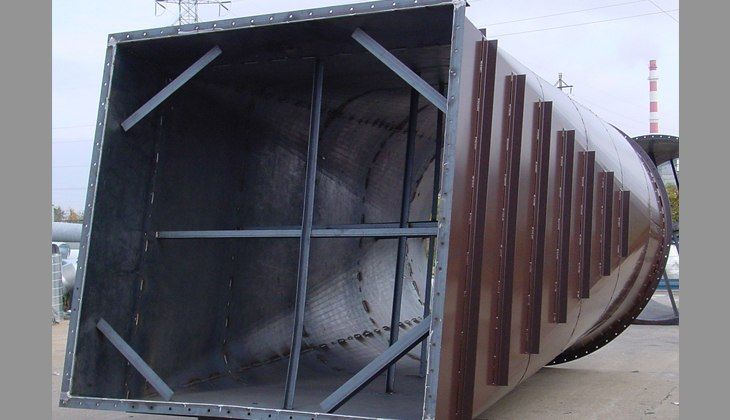 Segment of large industrial duct built in Schebler factory and installed at the customers plant