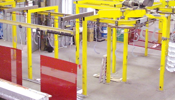 Industrial coating, heavy duty paint line, wet paint, at Schebler Specialty Fabrications