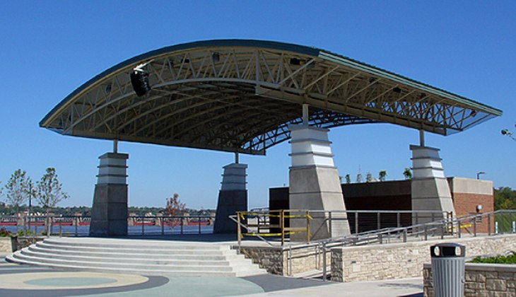 Custom architectural tubular structural fabrications for roof of Schwiebert Riverfront park pavilion
